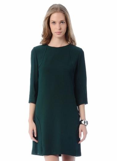 Cotton Bar Truvakar Kol Düz Kısa Elbise Yeşil